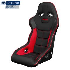 Braum Black and Red Cloth FIA Approved Fixed Back FALCON X Series Racing Seat BRR8-BFRP, Front-side view