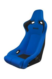 Braum Blue Cloth Carbon Fiber Mixed VENOM-R Series Fixed Back Bucket Seat (BRR7-BUFB), Front-left view