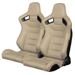 Braum ® - Pair of Beige Leatherette Carbon Fiber Mixed Elite Series Racing Seats (BRR1-BGBW), Seats
