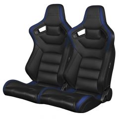 Braum Pair of Black and Blue Leatherette Carbon Fiber Mixed Elite Series Racing Seats (BRR1-BKBU), Pair