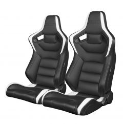 Braum Pair of Black and White Leatherette Carbon Fiber Mixed Elite Series Racing Seats (BRR1-BKWW), Pair
