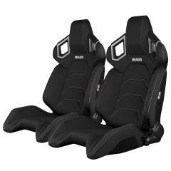 Braum Racing Black Cloth Reclining Back Racing Seats with Grey Stitching, Pair