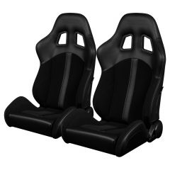 Braum Pair of Black Cloth and Leatherette Defender Series Racing Seats With Black Accent Stripe and Stitches (BRR4-BKBS), Pair