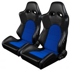 Braum Pair of Black Leatherette Advan Series Racing Seats with Blue Fabric Inserts and Blue Stitches BRR2-BKBU, main image