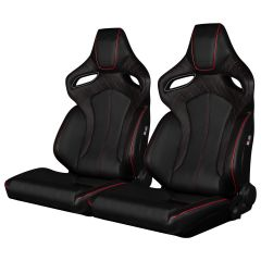 Pair of Black Leatherette ORUE Series Diamond Edition Racing Seats With Red Stitching and Piping