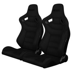Braum Pair of Black Suede Elite Series Racing Seats With Gray Stitches BRR1-BKSD, Pair