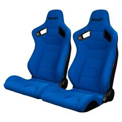 Braum Pair of Blue Fabric Elite Series Racing Seats With Black Stitching BRR1-UFBS, Pair