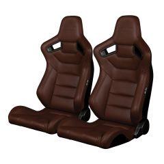 Braum Pair of Brown Leatherette Carbon Fiber Mixed Elite Series Racing Seats BRR1-CPBS, Pair