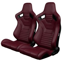 Braum Pair of Maroon Leatherette Elite-X Series Racing Seats with Black Stitches BRR1X-MRBS, Pair