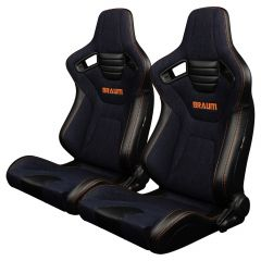 Braum Pair of Navy Denim ELITE-X Series Racing Seats With Leatherette Inserts and Orange Stitching BRR1X-NDOS, Pair