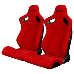 Braum Pair of Red Fabric Elite Series Racing Seats With Black Stitching BRR1-RFBS, Main image
