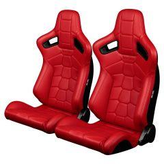 Braum Pair of Red Leatherette Komodo Edition Elite-X Series Racing Seats BRR1X-RDRT, Pair