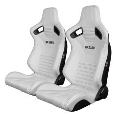 Braum Pair of White Leatherette Elite-X Series Racing Seats with Black Stitches BRR1X-WHBS, Pair