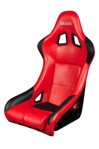 Braum Red Leatherette FIA Approved Fixed Back Falcon Series Racing Seat (BRR9-RDPU), Front-left View