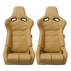 Cipher Auto Beige PU Leatherette and Carbon Fiber PU Universal Viper Racing Seats CPA2002PCFBG, Pair