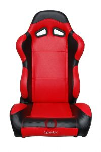 Cipher Auto Pair of Black and Red Carbon Fiber PU Leatherette Universal Racing Seats (CPA1003CFBKRD), Main Image
