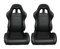 Cipher Auto Black Leatherette with Blue Accent Piping Universal Racing Seats CPA1031PBK-BL, Pair