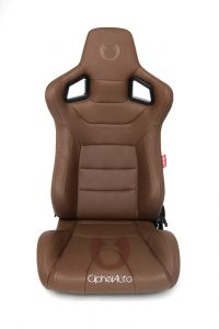 Cipher Auto ® - Mocha Leatherette Carbon Fiber with Brown Stitching Universal Euro Racing Seats (CPA2001PCFER2)