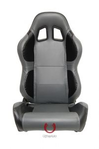 Cipher Auto Pair of Gray and Black Carbon Fiber PU Leatherette Universal Racing Seats (CPA1011CFBKGY), Main Image