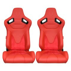Cipher Auto Red Leatherette and Suede with Carbon Fiber PU Backing Universal AR-9 Revo Racing Seats CPA2009RS-PSDRD, Pair