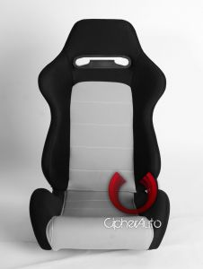 Cipher Auto ® - Black Cloth with Grey Insert Universal Racing Seats (CPA1013FBKGY)