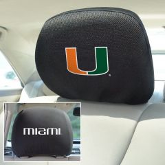 Fanmats ® - Pair of University of Miami Universal Headrest Covers (12581)