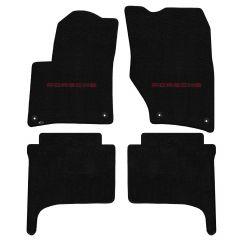Lloyd ® - Ultimat™ Black Custom 4PC Floor Mats With Red Porsche Lettering Logo (600274)