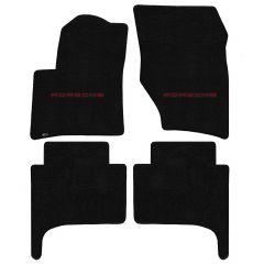 Lloyd ® - Ultimat™ Black Custom 4PC Floor Mats With Red Porsche Lettering Logo (600276)