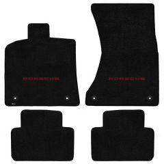 Lloyd ® - Ultimat™ Black Custom 4PC Floor Mats With Red Porsche Lettering Logo (600278)