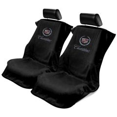 Seat Armour Pair of Black Towel Seat Covers with Cadillac Crest and Script (SA100CADB), Item image