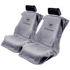 Seat Armour Pair of Grey Towel Seat Covers with Cadillac Crest and Script
