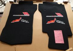 Lloyd Mats ® - Velourtex Ebony Front Floor Mats For Late Corvette Grand Sport with C6 Flags and Grand Sport Logo