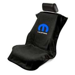 Seat Armour Black Towel Seat Cover with Mopar Logo - Front-Right View