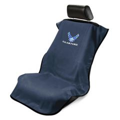 Seat Armour Black Towel Seat Cover with US Air Force Logo - Front-Right View