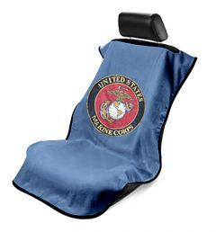 Seat Armour Marine Blue Towel Seat Cover with US Marines Logo - Front-Right View