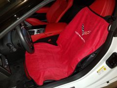 Seat Armour Pair of Adrenalin Red Towel Seat Covers with Corvette C7 Logo (SA100COR7R), In Situation Image