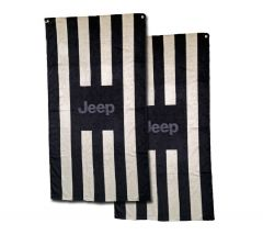 Seat Armour Pair of Black and Gray Striped Towel 2 GO Seat Covers with Jeep Logo, Seat Cover Alone View