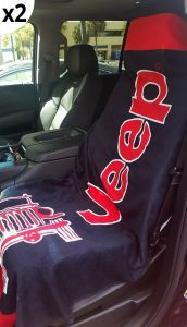 Seat Armour Pair of Black And Red Towel 2 GO Seat Covers with Jeep Wrangler Logo T2G100BLK, In situation Image