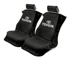 Seat Armour Pair of Black Towel Seat Covers with Toyota Logo, Front-Right View