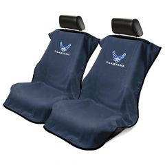 Seat Armour Pair of Black Towel Seat Covers with US Air Force Logo, Front-Right View