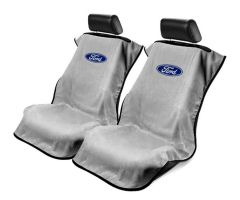 Seat Armour Pair of Grey Towel Seat Covers with Ford Logo, Front-Right View