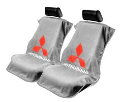 Seat Armour Pair of Grey Towel Seat Covers with Mitsubishi Logo, Front-Right View