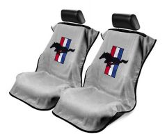 Seat Armour Pair of Grey Towel Seat Covers with Mustang Pony Logo, Front-Right View