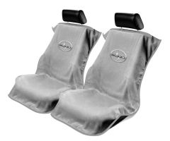 Seat Armour Pair of Grey Towel Seat Covers with Scion Logo, Front-Right View