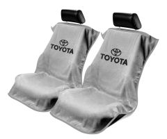 Seat Armour Pair of Grey Towel Seat Covers with Toyota Logo, Front-Right View