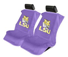 Seat Armour Pair of Purple Towel Seat Covers with NCAA Louisiana University Logo, Front-Right View