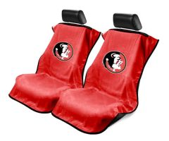 Seat Armour Pair of Red Towel Seat Covers with NCAA FSU Seminoles Logo, Front-Right View