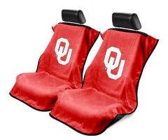 Seat Armour Pair of Red Towel Seat Covers with NCAA Oklahoma University Logo, Front-Right View