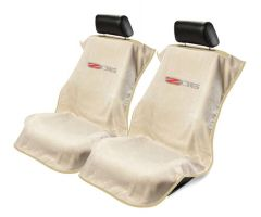 Seat Armour Pair of Tan Towel Seat Covers with Corvette Z06 Logo, Front-Right View