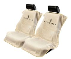 Seat Armour Pair of Tan Towel Seat Covers with Lincoln Logo, Front-Right View